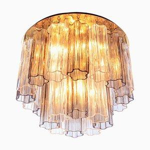 Bernsteinfarbene Einbau Deckenlampe mit Venini Tronchi Murano Glas & Messing von Kalmar