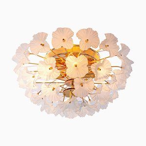 Hibiscus Brass Flush Mount Chandelier with Glass Flowers, Italy, 1970s