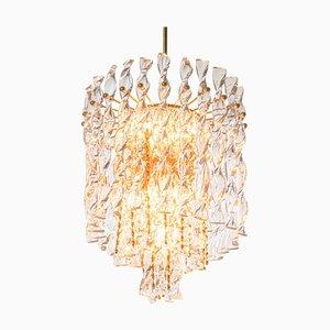 German Palwa Tendril Ribbon Chandelier Crystal Glass & Gilt-Brass, 1960s