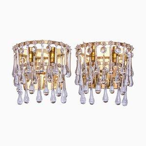 Vintage Teardrop Wall Sconces in Crystal Glass & Brass, 1960s, Set of 2