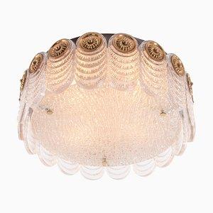 German Flush Mount Ceiling Light in Murano Glass & Brass from Kaiser, 1960s