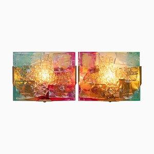 Wandleuchte aus Glas & Messing von Willem Van Oyen für Raak, 1960er, 2er Set