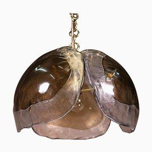 Mid-Century Chandelier in Amber Murano Glass & Gilt-Brass from Kaiser