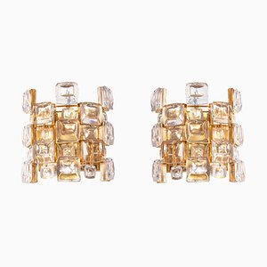 German Jewel Wall Sconces in Crystal & Gilt-Brass from Palwa, 1960s, Set of 2