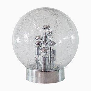 Lampada da tavolo Sputnik sferica grande in vetro di Murano, ottone e placcata in cromo di Doria, Germania, 1967