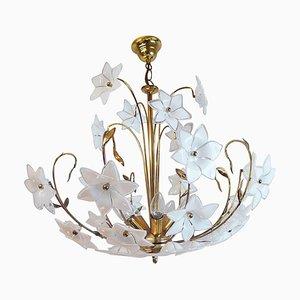 Large Vintage Italian Murano Flower Venini Art Glass Gilt Chandelier