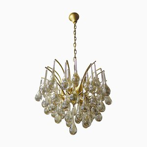German Teardrop Chandelier in Murano Glass and Brass from Palwa, 1970s