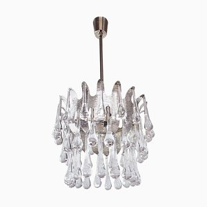 German Teardrop Chandelier in Murano Glass and Silver Brass from Palwa, 1970s