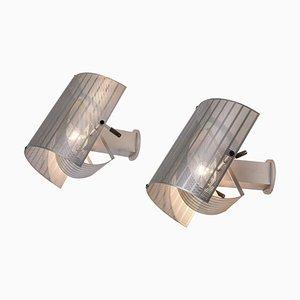 Silberne Shogun Wandlampen von Mario Botta für Artemide, 1980er, 2er Set