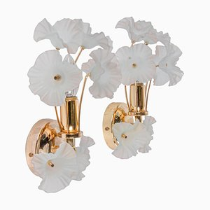Hibiscus Brass Wall Sconces with Glass Flowers, Italy, 1970s, Set of 2