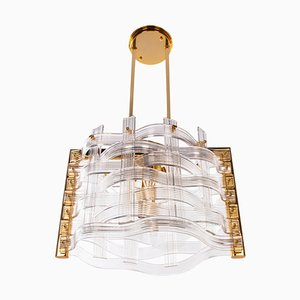 Gold Plated Nastri Murano Glass Chandelier from Venini, Italy