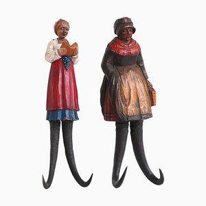 Black Forest Figural Carved Wall Hooks, 19th Century, Set of 2