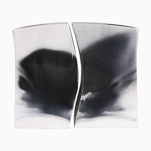 Architectural Smoke Fired Ceramic Vases, Set of 2