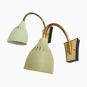 Mid-Century Modern Perforated Enameled Brass Wall Sconces, Set of 2