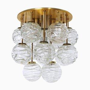 German Sputnik Flush Mount in Murano Glass Balls & Brass from Doria, 1960s
