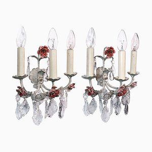 Italian Wall Sconces in Tole & Crystal, Italy, 1940s, Set of 2