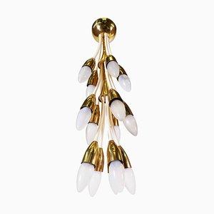 Enamel Brass Chandelier, 1950s, Italy
