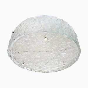 German Large Flush Mount Ceiling Light in Frosted Murano Glass, 1960s