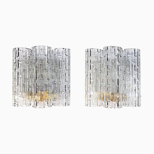 Deutsche Wandlampen mit Murano Glasröhren von Doria, 1960er, 2er Set