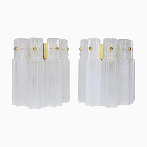 German Wall Sconces in Frosted Murano Glass & Brass, 1960s, Set of 2