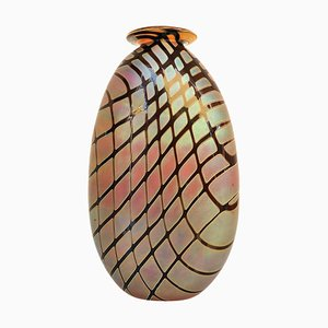 Iridescent Oval Art Glass Vase with Lip by Craig Zweifel, 2003