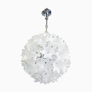 Chandelier in Murano Glass & Chrome by Paolo Venini for Veart, Italy, 1960s