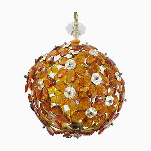 Amber and Brass Chandelier with Crystal Flowers from Maison Bagues, 1950s, France