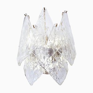 Large Leaves Wall Sconce in Murano Glass & Chrome, 1960s, Italy