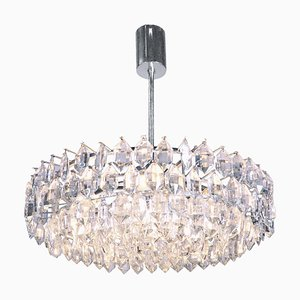 Large Chandelier in Crystal & Silver Plated from Lobmeyr / Bakalowits & Sons