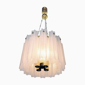 Chandelier in Frosted Murano Glass & Brass, 1960s, Germany