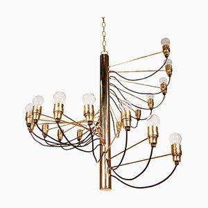 Spiral Brass Chandelier by Gino Sarfatti, 1950s
