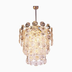 Cascade Chandelier in Faceted Crystal Prisms & Brass, 1960s, Germany