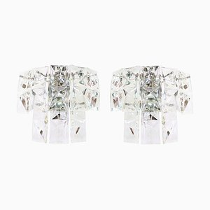 Faceted Crystal & Chrome Wall Sconces from Kinkeldey, Germany 1960s, Set of 2