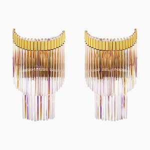 Italy Foglie Wall Sconces in Iridescent Murano Glass Rods & Gilt Brass, Set of 2