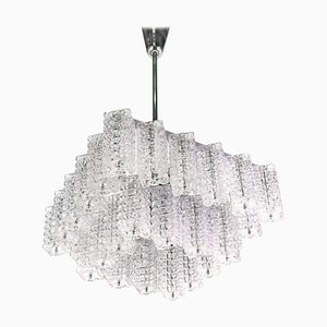Square Chandelier in Glass & Chrome from Austrolux, Vienna, 1960s