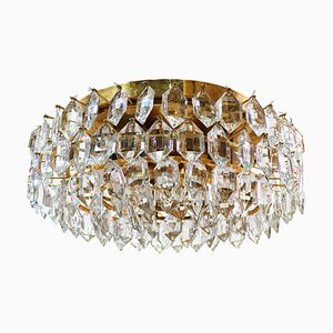 Large Flush Mount Chandelier in Crystal & Brass from Lobmeyr / Bakalowits & Sons