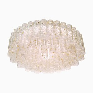 Ceiling Light in Gold-Flaked Murano Glass & Brass, 1960s