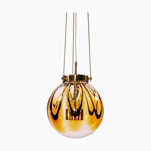 Hängelampe aus bernsteinfarbenem Murano Glas & vergoldetem Messing, 1960er, Deutschland