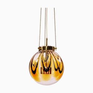 Pendant Light in Amber Murano Glass & Gilt-Brass, 1960s, Germany