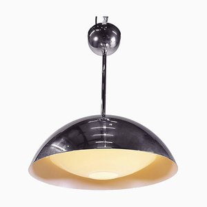 Dome Pendant Light in Glass & Chrome, 1970s, Germany