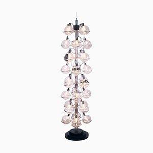 """Sarfatti 102"""" Foyer Lighting Object 32 Globes Chandelier, 1960s, Italy"""