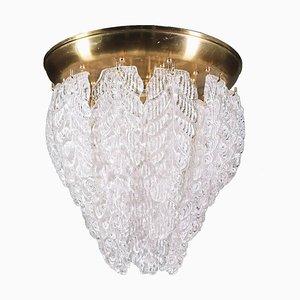 Graniglia Flush Mount in Murano Glass Leaves & Brass from Barovier & Toso, 1960s, Italy