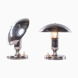 French Chromed Mushroom Table Lamps, Set of 2