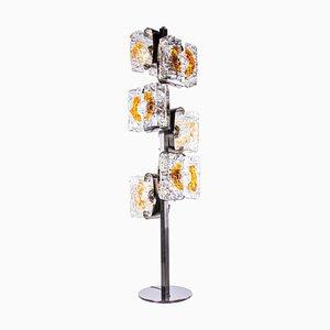 Stehlampe aus bernsteinfarbenem Murano Glas & Chrom von Toni Zuccheri & Mazzega, 1970er, Italien