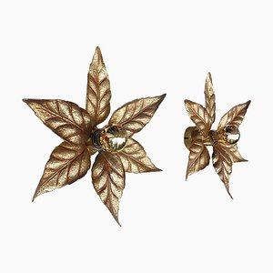 Wall Lights in Gilt Brass Leaves by Willy Daro for Massive, 1970s, Belgium, Set of 2