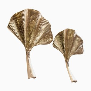 Golden Ginkgo Leaf Brass Wall Sconces, Italy, Set of 2