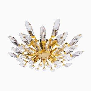 Flush Mount in Crystal Glass & Gilt Brass, 1970s, Italy