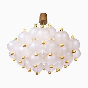 Chandelier in Frosted Glass Balls & Brass, 1960s, Germany