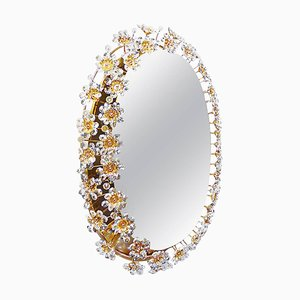 Oval Backlit Mirror in Crystal & Gilt Brass by Christoph Palme for Palwa, 1960s, Germany