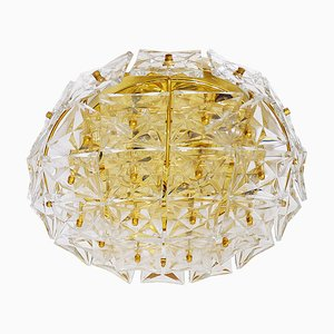 Large Chandelier in Gold-Plated Brass & Crystal, 1960s, Germany